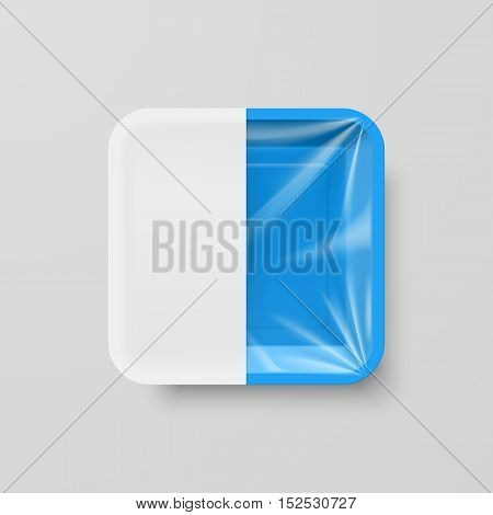 Empty Blue Plastic Food Square Container with White label on Gray Background