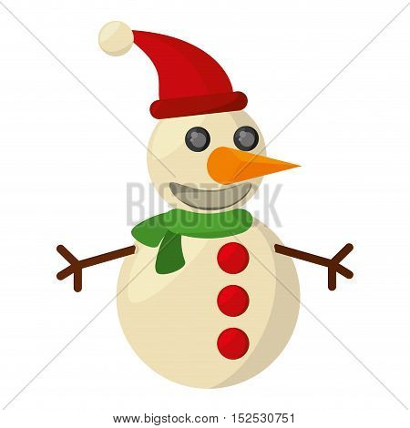 snowman christmas character isolated icon vector illustration design