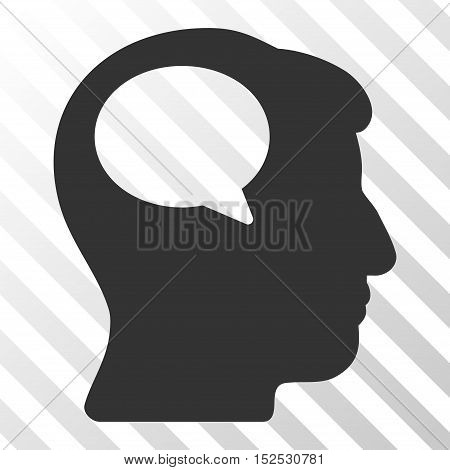 Gray Person Thinking interface pictogram. Vector pictogram style is a flat symbol on diagonal hatch transparent background.