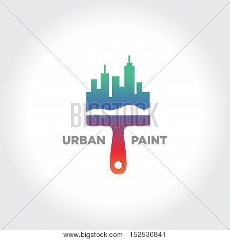Urban City Painting. Creative Brush illustration. Vector Symbol