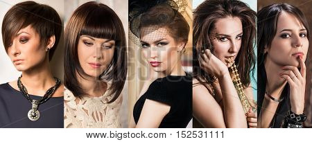 Collage of stylish beautiful women with makeup.