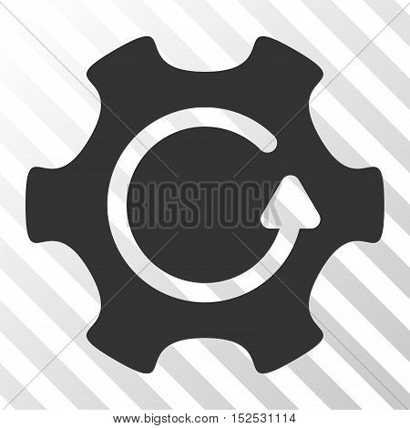 Gray Rotate Gear toolbar icon. Vector pictogram style is a flat symbol on diagonal hatch transparent background.