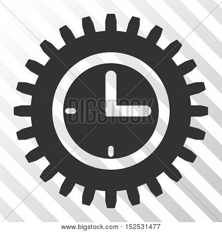 Gray Time Options interface icon. Vector pictograph style is a flat symbol on diagonal hatch transparent background.