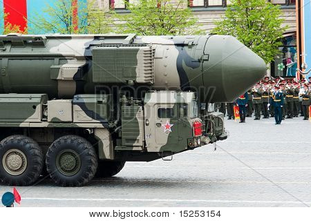 MOSCOW - MAY 6: Topol-M -  intercontinental ballistic missiles. Dress rehearsal of Military Parade on 65th anniversary of Victory in Great Patriotic War on May 6, on Red Square in Moscow, Russia