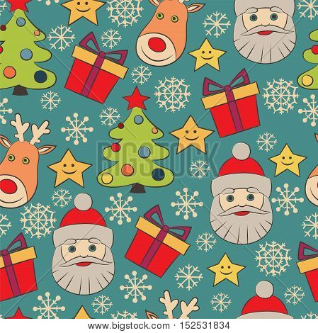 Christmas vector seamless pattern with gift star snowflakes Santa and deer. Multi colored doodles on blue background. Can be use for Christmas card or wrapping paper design.