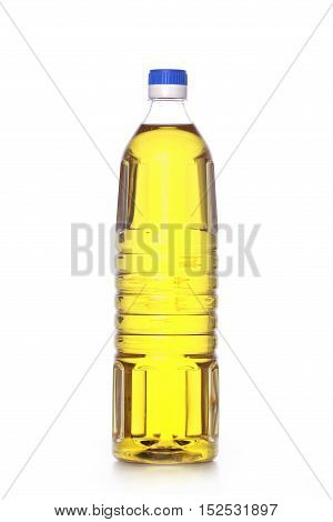 cooking oil in the bottle isolated on white background