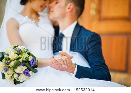 Close up portrait of wedding couple at wedding day
