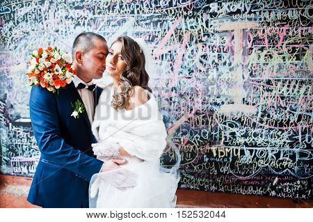 Lovely Wedding Couple Background Graffiti Wall Of Love Words