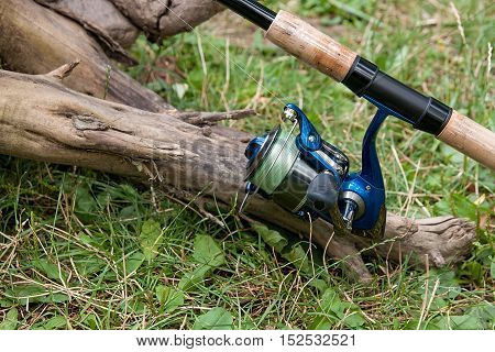 Fishing Rods With Reels On The Natural Background.