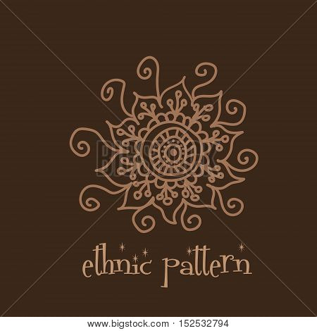 Ethnic pattern hand drown mehendi tattoo round flower point illustration vector design on a brown background eps10