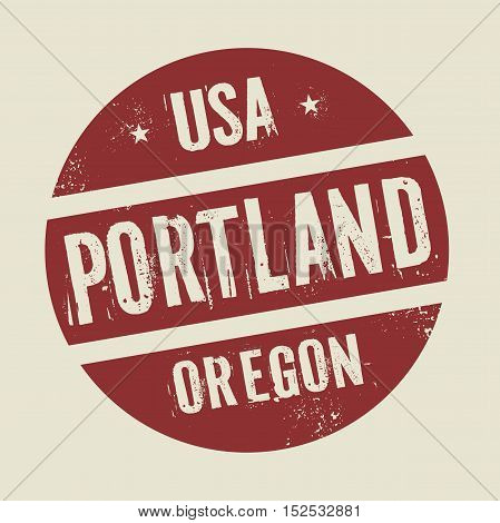 Grunge vintage round stamp with text Portland Oregon vector illustration