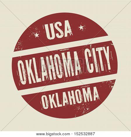 Grunge vintage round stamp with text Oklahoma City Oklahoma vector illustration