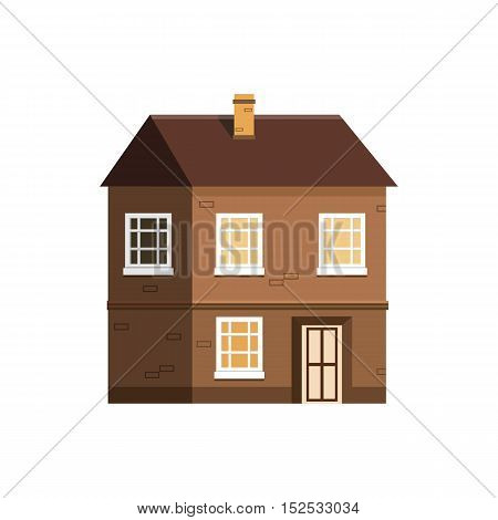 House icon isolated on white background. Home exterior in flat style. Residential building vector illustration