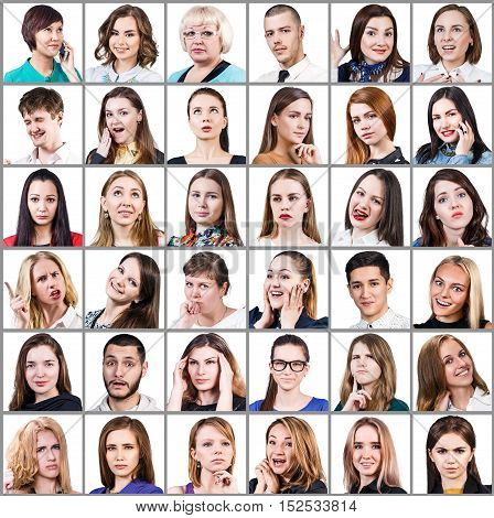 Portrait collage of many smiling faces over white background