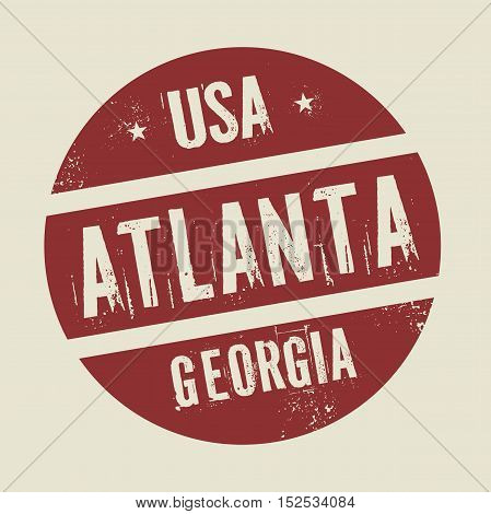 Grunge vintage round stamp with text Atlanta Georgia vector illustration