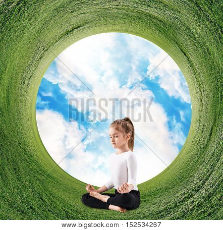 Stereographic panoramic projection of a green field with woman sitting in yoga position