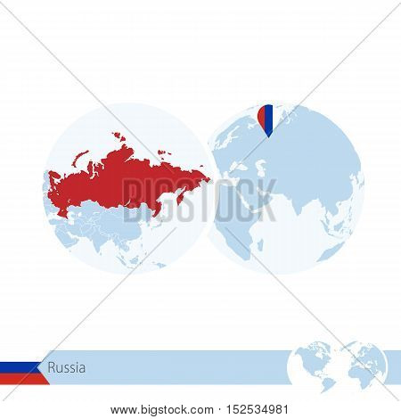 Russia On World Globe With Flag And Regional Map Of Russia.