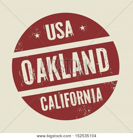 Grunge vintage round stamp with text Oakland California vector illustration