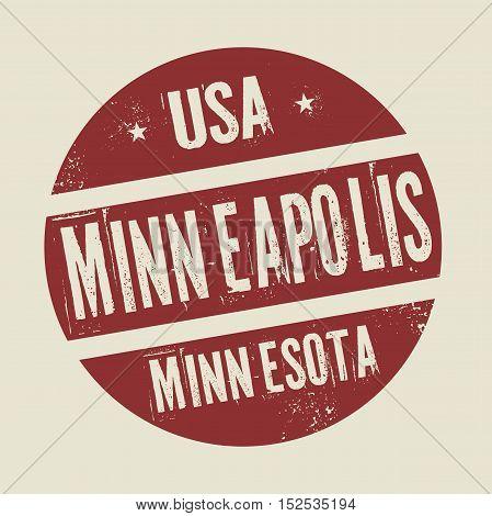 Grunge vintage round stamp with text Minneapolis Minnesota vector illustration