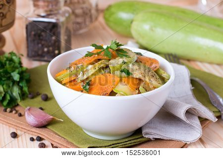 Vegetable stew of zucchini carrots and onions