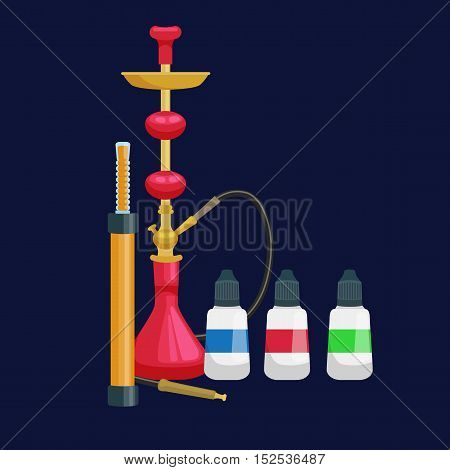 Colorful and modern red hookah isolated with bottled liquid vector illustration.