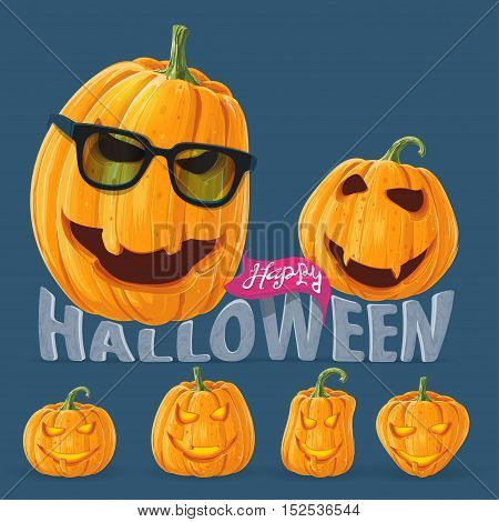 Set of funny pumpkin wearing glasses, a celebratory concept for a party invitation happy Halloween poster card banner