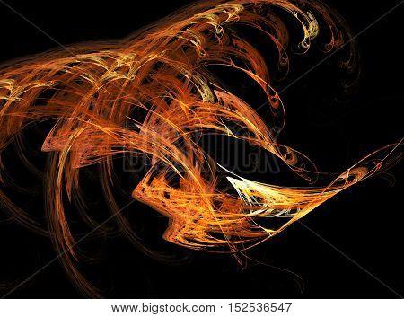 Abstract orange and yellow smoke on blackbackground