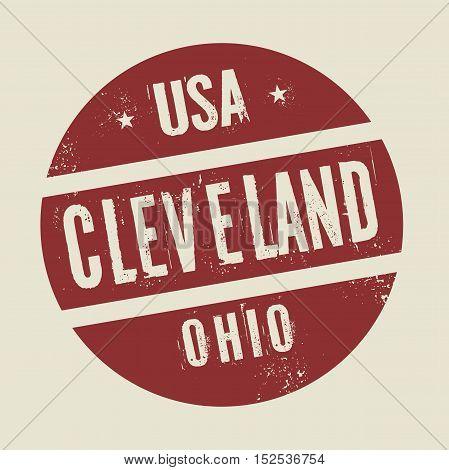 Grunge vintage round stamp with text Cleveland Ohio vector illustration
