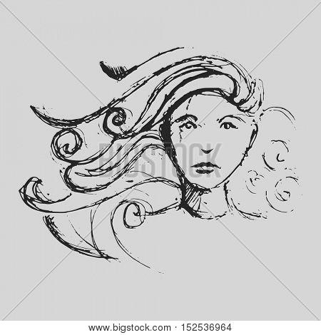 Virgo Astrological zodiac symbol. Horoscope sign background. Sketch style. Vector Illustration.