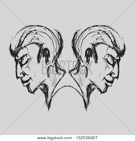 Gemini Astrological zodiac symbol. Horoscope sign background. Sketch style. Vector Illustration.