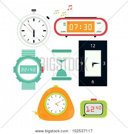 Types of alarms clocks, digital watch and timer, stopwatch and hourglass. Symbol of time. Flat style illustrations isolated on white.