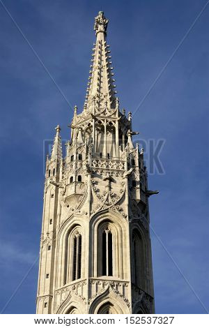 Matthias Church beautiful gothic spire in the historic center of Budapest