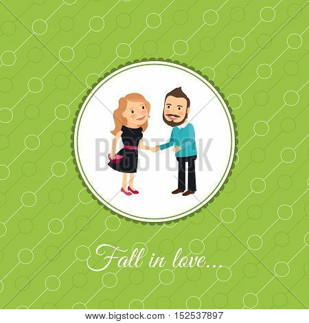 Fall in love couple, valintines day card template with green background. Vector illustration