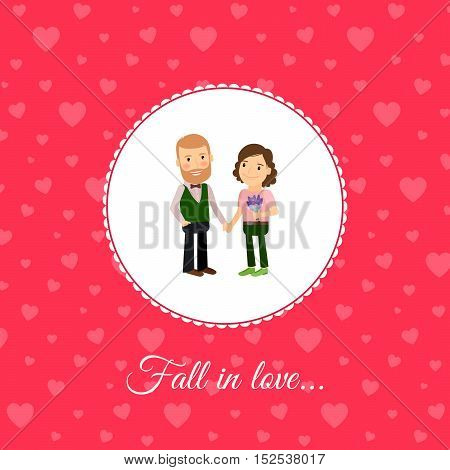 Fall in love couple, valintines day card template with pink background. Vector illustration
