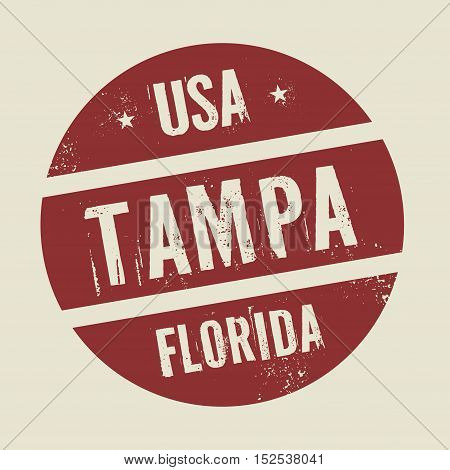 Grunge vintage round stamp with text Tampa Florida vector illustration