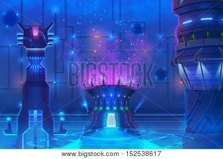 Futuristic Environment, inside of a Building. Video Game's Digital CG Artwork, Concept Illustration, Realistic Cartoon Style Background
