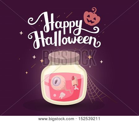 Vector Halloween Illustration Of Decorative Jar With Tooth, Eye, Finger And Text Happy Halloween Wit