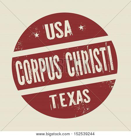 Grunge vintage round stamp with text Corpus Christi Texas vector illustration
