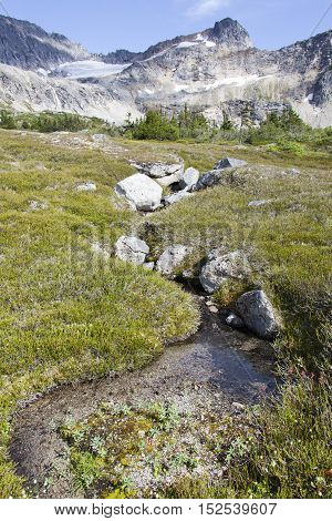 Little stream in Devil's Punchbowl over 3000 feet above sea level (Skagway Alaska).