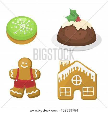 Sweet Christmas cookie cake isolated on white. Traditional Christmas sweet cake holliday vector. Cake cookie for New Year food sweet vector. Food fresh cookie isolated