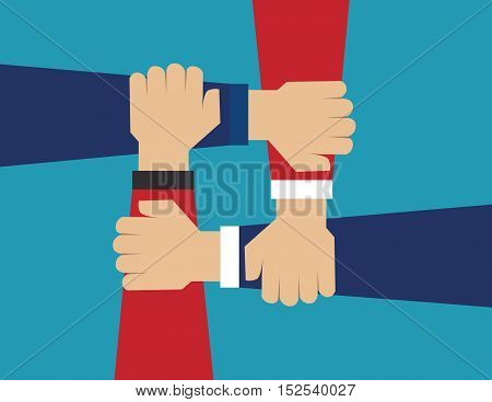 Cooperate for successful work. Concept business illustration. Vector flat