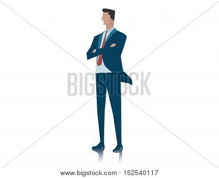 Business Man With His Arms Crossed Over Isolated Background. Concept Business Illustration.
