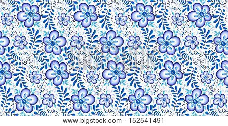 Blue flowers and leaves ornament in Russian gzhel style vector seamless pattern