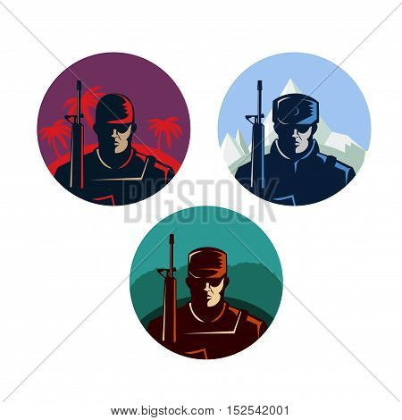 Soldier badges or avatars set. Silhouette with rifle. Vector flat design. Marine in different countries