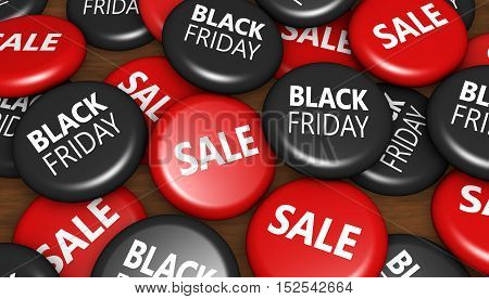 Black friday thanksgiving day and Christmas shopping sale buttons concept 3d illustration.
