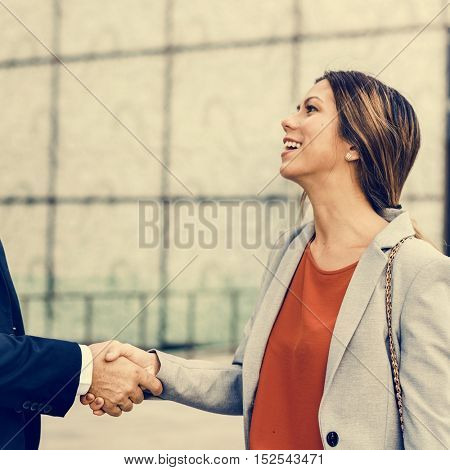 Handshake Greeting Corporate Business People Concept