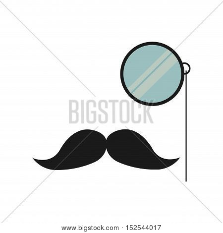 mustache and glass gentleman icon vector illustration design