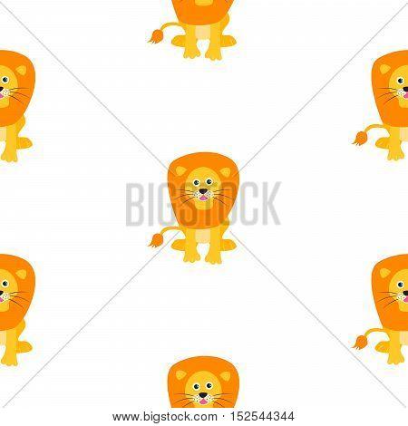Cute lion seamless vector pattern. Cartoon lion wild safari animal on white for kid textile prints and apparel.