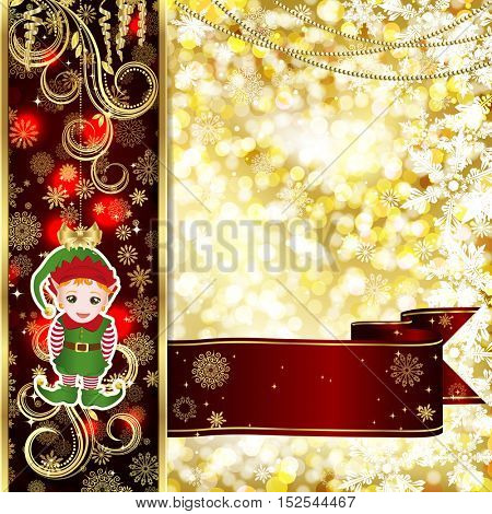Christmas card with Christmas decor, snowflakes on golden and red background.
