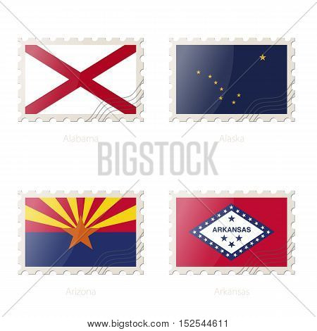 Postage Stamp With The Image Of Alabama, Alaska, Arizona, Arkansas State Flag.